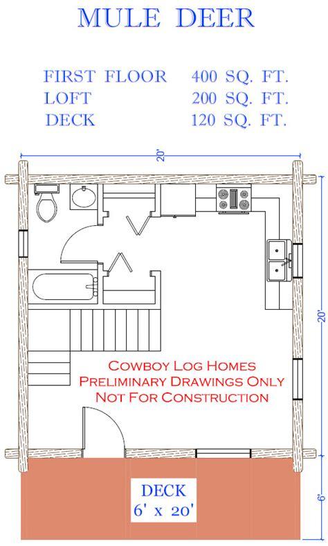 Mule Deer Plan 600 Sq Ft Cowboy Log Homes 600 Square Foot Log Cabin Kits