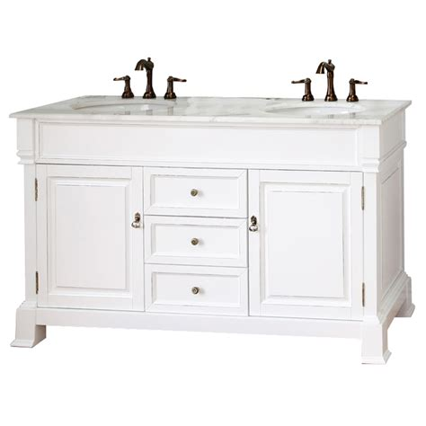 White Bathroom Vanity With Sink Shop Bellaterra Home White Rub Edge 60 In Undermount Sink Birch Bathroom Vanity With