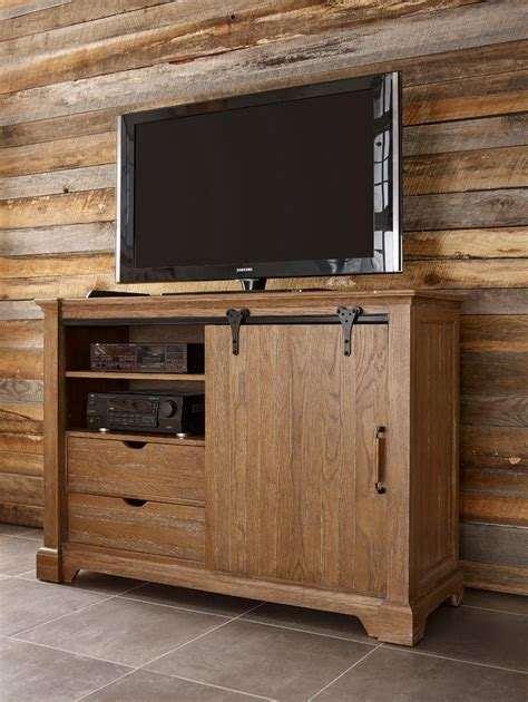 Barn Door Media Transitional Rustic Sliding Barn Door Media Chest With Clothing Storage By Furniture