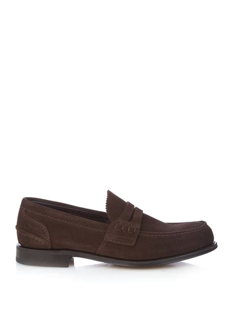 brown suede loafers church s pembrey suede loafers in brown for lyst