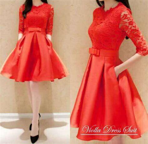 Mini Dress Terbaru Brukat mini dress brukat merah model terbaru cantik modis