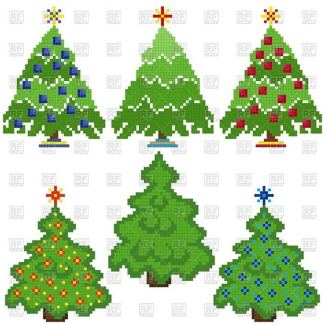 pixel christmas trees with different decorations fir