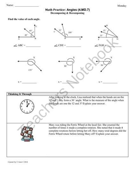 Common Math Worksheets For 4th Grade by 4 Md 7 Angle Measurement 4th Grade Common Math