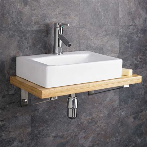 Wall Mounted Wooden Shelf White Ceramic Rectangular Sink Bathroom Sink Shelf