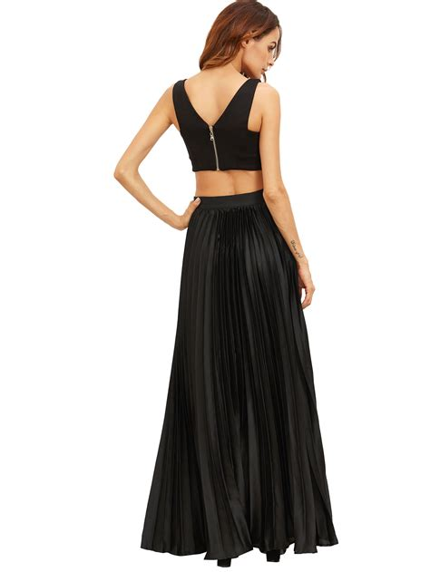 Pleated Flare Maxi Skirt Rok Fit To Big Size black zipper side pleated flare maxi skirt