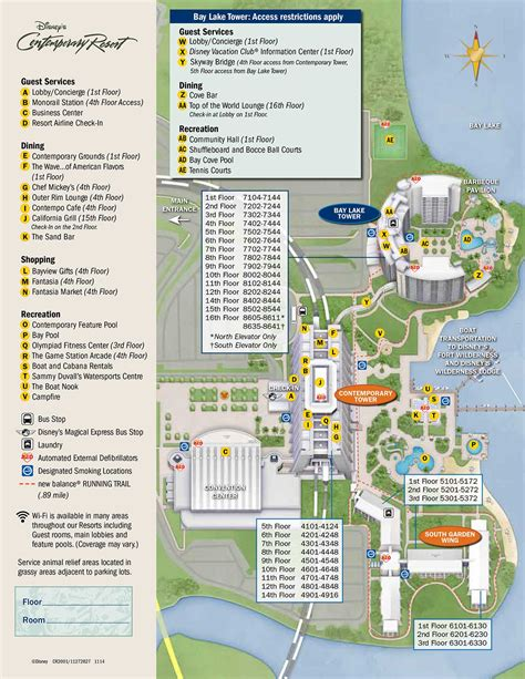 Disneyland Hotel Number Of Floors - disney s contemporary resort map wdwinfo