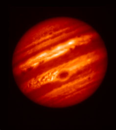 what color is jupiter space images jupiter with great spot mid infrared