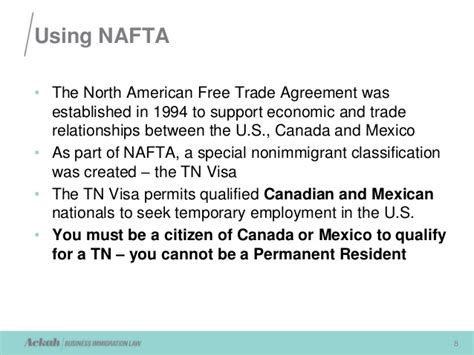 Tn Visa Management Consultant Mba by Nafta Requirements For Working In The U S Presented By