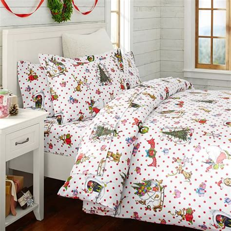 pottery barn christmas bedding the grinch flannel duvet sham pbteen