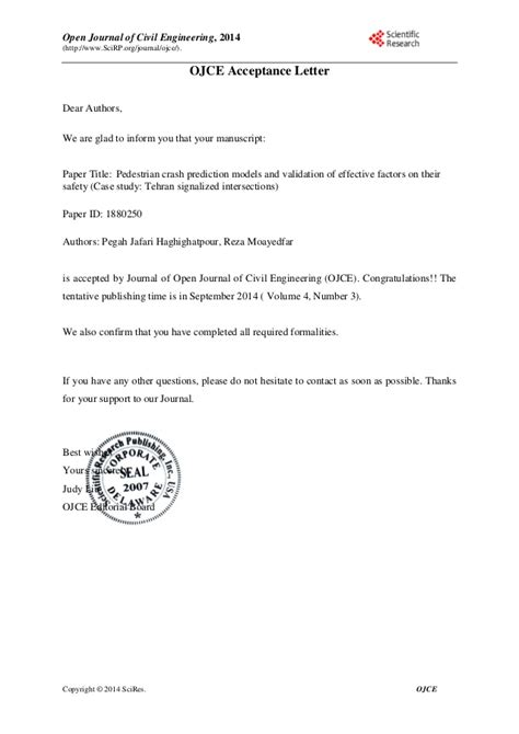 Acceptance Letter For Journal Publication Formal Acceptance Letter Ojce