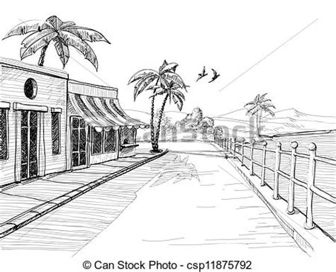 street sketchbook street graphics eps vectors of small and quiet city at sea shore street view sketch csp11875792 search clip