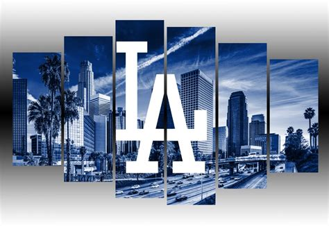 Home Decor Blue by Los Angeles Dodgers Wall Art Canvas Prints Geek Paintings