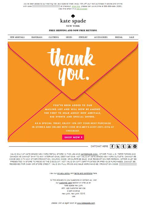 82 best fashion email newsletters images on email newsletters email newsletter kate spade welcome email the best of email