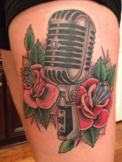 microphone rose tattoo vintage microphone tattoos www imgkid the image