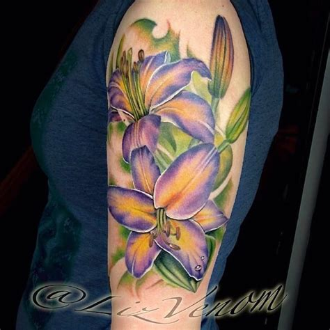 lily quarter sleeve tattoo lizvenom purple lily half sleeve flower tattoo by liz