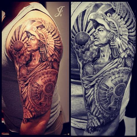 half sleeve aztec tattoo designs aztec sleeves burgundy hair color