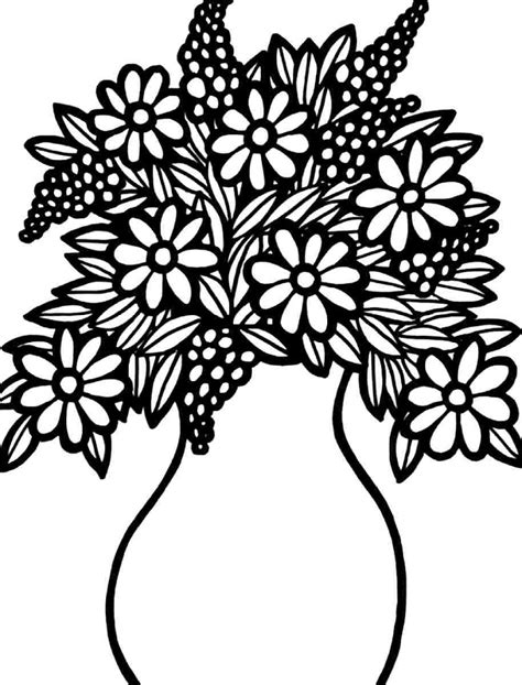 flower coloring best flower bouquet coloring pages drawing