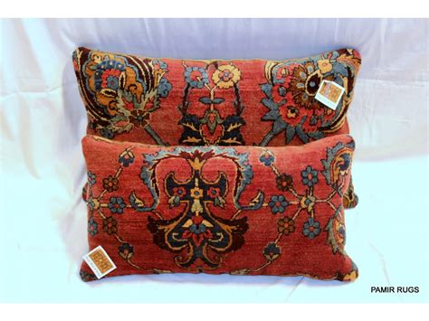 pillows made from rugs decorative handmade antique kashan pillows made out of 19th century vintage rug