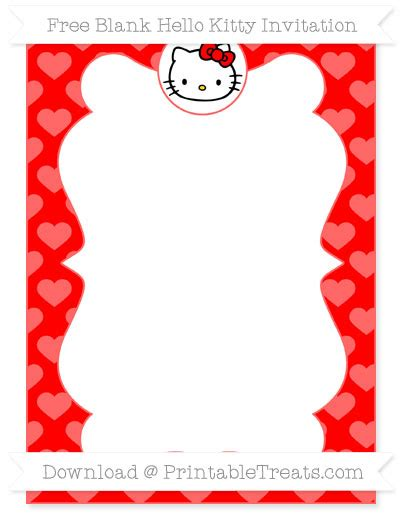free red heart pattern blank hello kitty invitation