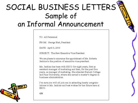 Business Letter Vs Social Letter Social Business Letters Ppt