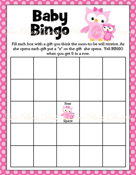 baby shower bingo free printable pink with owl woodland baby shower