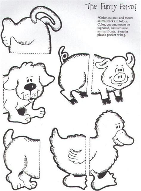 The Funny Farm File Folder Game 3 6 Kids Flip Books The Match Free Printable Coloring Pages