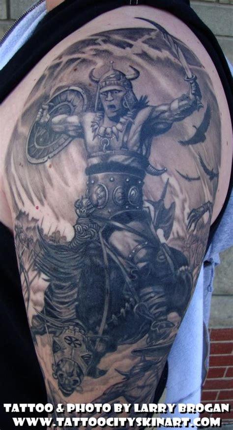 detail of frank frazetta sleeve by larry brogan tattoos