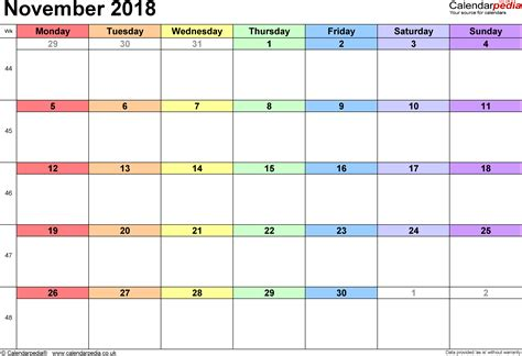 Calendar November 2018 Calendar November 2018 Uk Bank Holidays Excel Pdf Word
