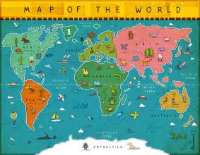 Map Of The World For Kids by Another Donkey Design Around The World On The Wall