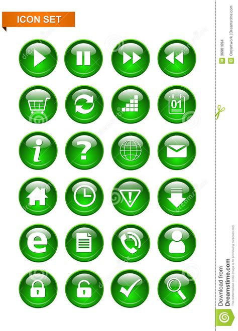 format eps rgb green button icon set stock images image 36901694