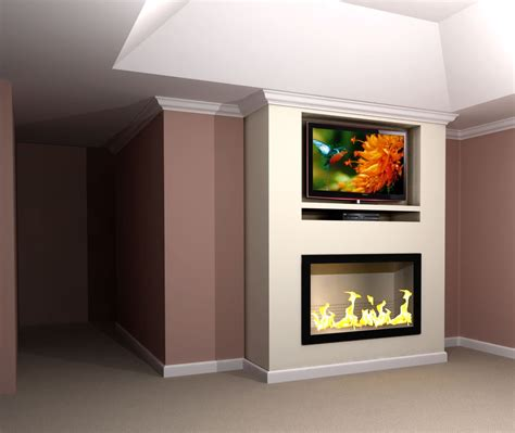 Contemporary Built in TV & Fireplace Wall Rendering   Nick