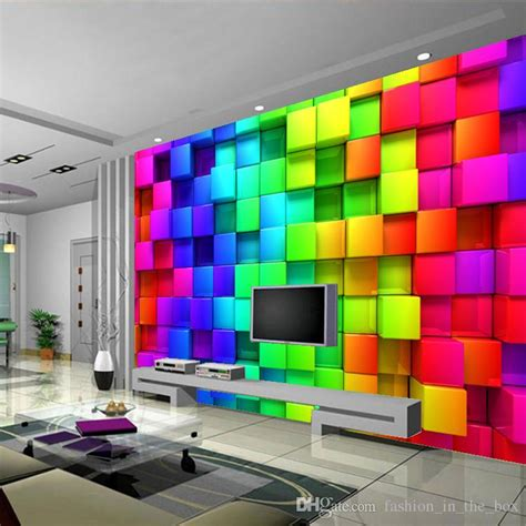 colorful wallpaper for rooms modern custom 3d wallpaper colorful blocks photo wallpaper