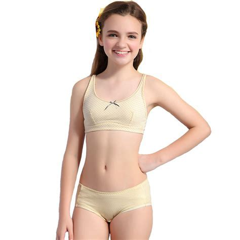 Wholesale Wofee Girls Puberty Underwear Sets Dot Health Cotton Bra And Matching Pants S