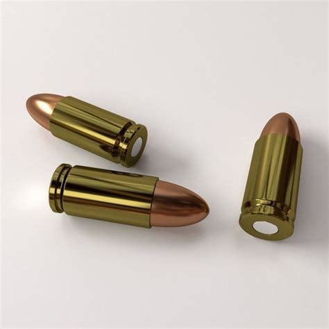 Ammunition 9mm Parabellum 3D Model .3ds .fbx .blend .dae