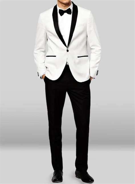 19642 White Black Suit tuxedo suit white jacket black trouser studiosuits made to measure custom suits customize