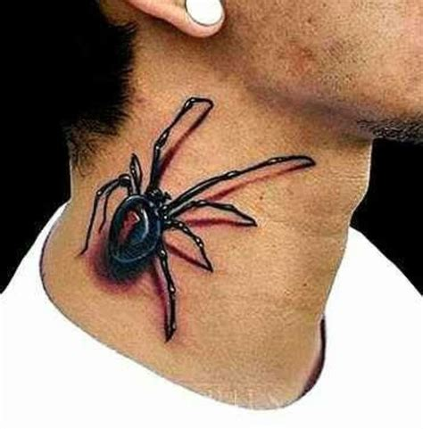 tattoo 3d spider 3d spider tattoo on neck tattoos pinterest tattoo
