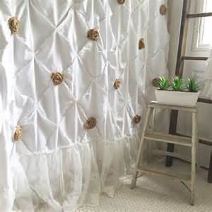 Shabby chic shower curtain white pin tuck with by farmhousefare