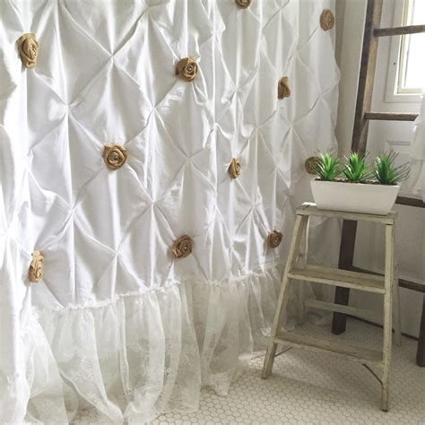 shabby chic bathroom curtains shabby chic shower curtain white pin tuck with