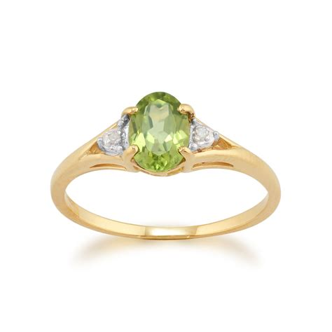 9ct Yellow Gold 0.77ct Peridot & Diamond Ring