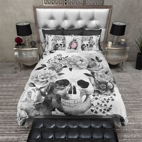 skull bedding black and white watercolor skull bedding ink and rags