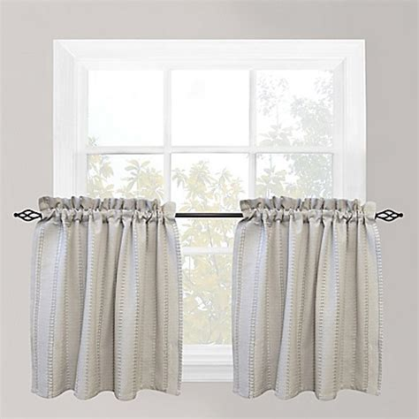 24 Inch Tier Curtains Buy Park B Smith Eyelet Chambray 24 Inch Window Curtain Tier Pair In Silver From Bed Bath Beyond