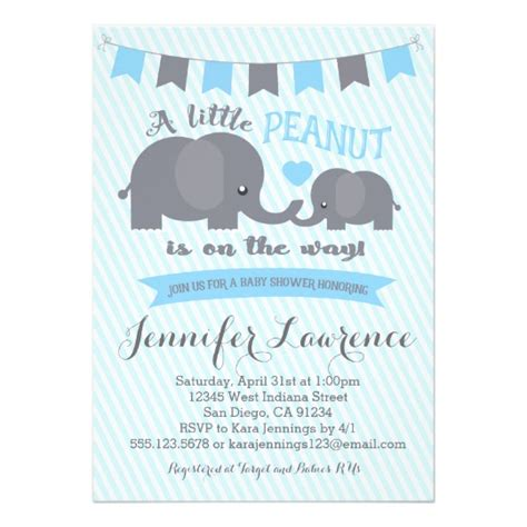 unisex thank you card template blue boy peanut elephant baby shower invitation zazzle