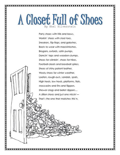 In Closet Poem closet of shoes by shel silverstein shel
