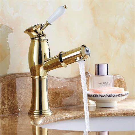 Bathroom Fixtures Gold Finish Olbia Gold Finish Bathroom Faucet With Pull Out