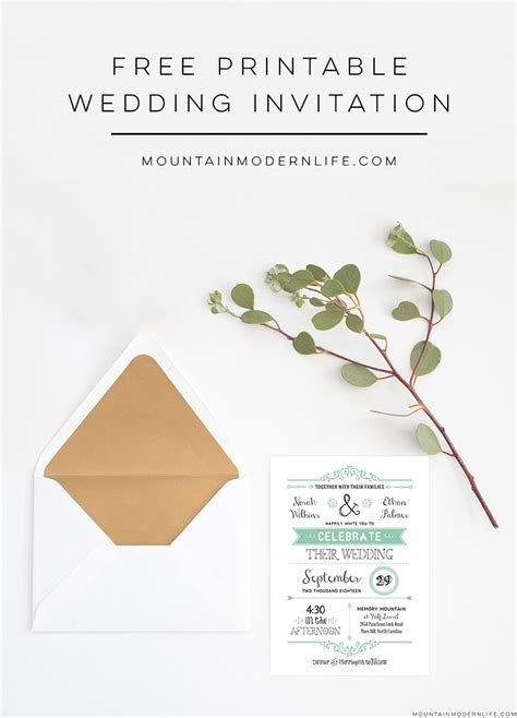 Free Wedding Invitations Printable Cards by Free Wedding Invitation Template Mountainmodernlife