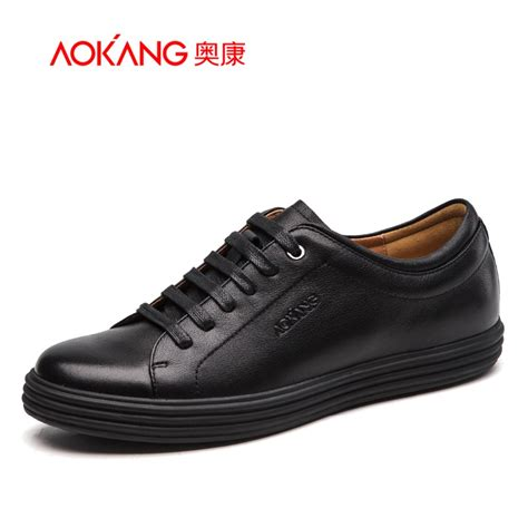 comfortable leather shoes aokang 2017 new arrival full grain leather shoes men