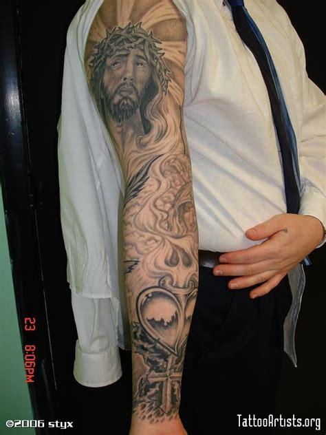 styx tattoo grey ink jesus on sleeve