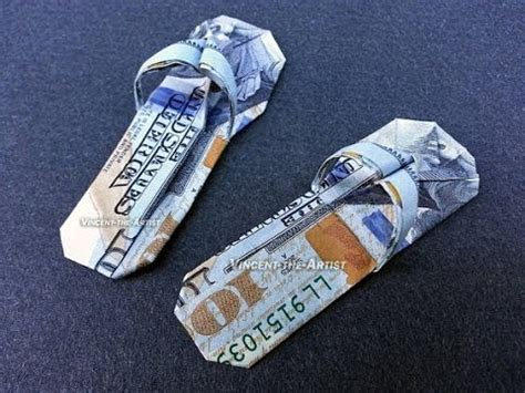 hundred dollar bill origami 100 bill flip flop sandals money origami