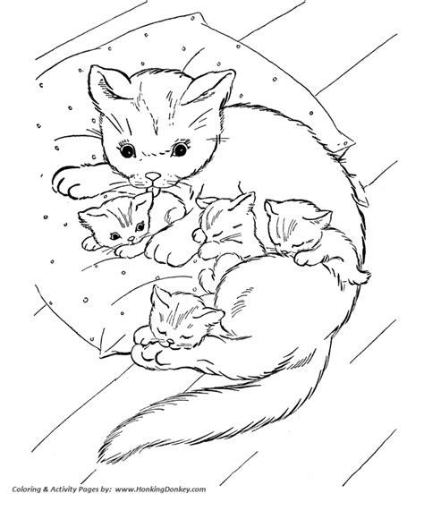 mama cat coloring page cat coloring page cat and kittens on pillow stuff to