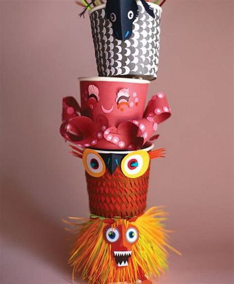 paper cup animals craft cool totem pole craft projects for